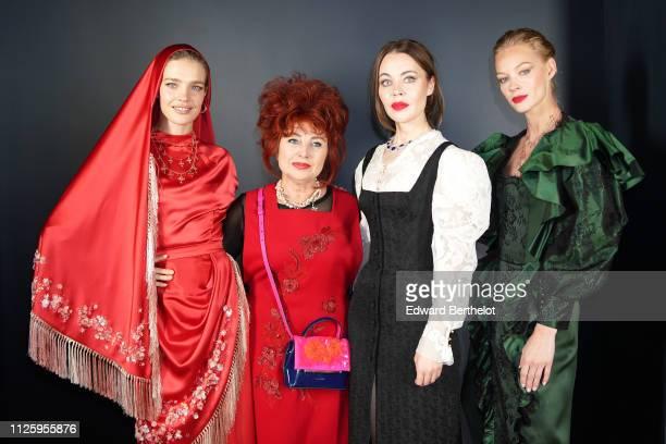 Natalia Vodianova a guest designer Ulyana Sergeenko and Svetlana Khodchenkova attend the Ulyana Sergeenko Spring Summer 2019 show as part of Paris...