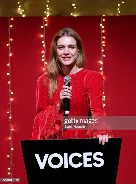 Natalia Vodianova accepts her Global VOICES 2017 Award at the gala dinner during #BoFVOICES on December 1 2017 in Oxfordshire England
