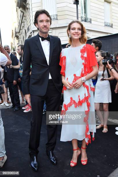 Natalia Vodianova and Antoine Arnault arrive at the 'Vogue Foundation Dinner 2018' at Palais Galleria on July 3 2018 in Paris France