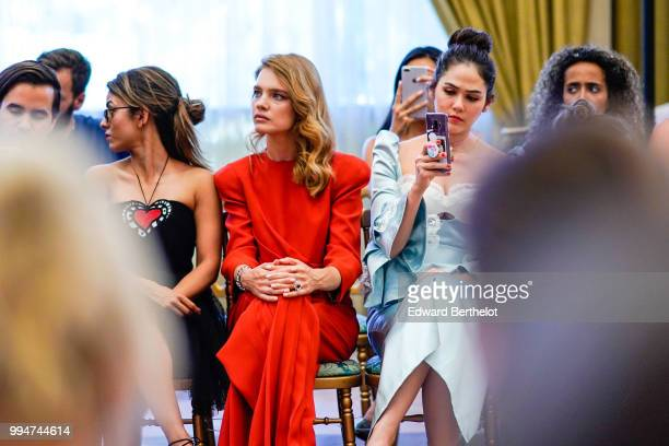 Natalia Vodianova and Araya Hargate attend the Ulyana Sergeenko Haute Couture Fall Winter 2018/2019 show as part of Paris Fashion Week on July 3 2018...