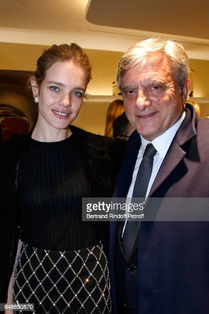 Natalia Vodianova and CEO Dior Sidney Toledano attend the Opening of the Boutique Rimowa 73 Rue du Faubourg Saint Honore in Paris on March 6 2017 in...