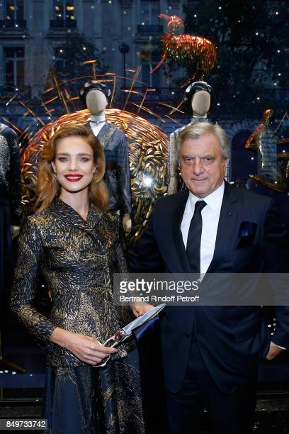 Natalia Vodianova and CEO of Dior Sidney Toledano attend the Inauguration of the Dior showcases at Galeries Lafayette for Christian Dior celebrates...