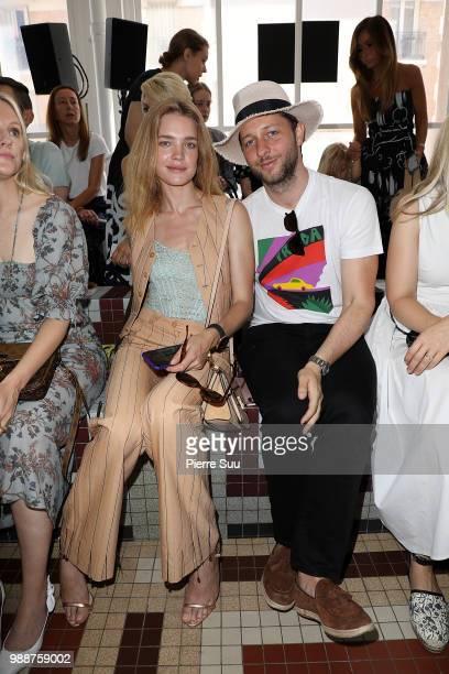 Natalia Vodianova and Derek Blasberg attend the Acne Studios Front Row Paris Fashion Week Womenswear Spring Summer 2019 show part of Paris Fashion...