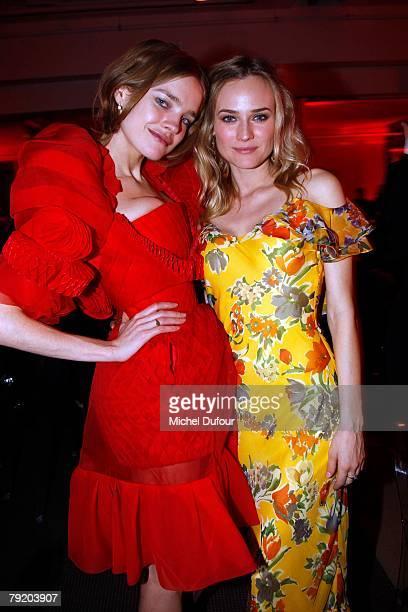 Natalia Vodianova and Diane Kruger attends the Sidaction Diner de la mode 2008, during Paris Fashion Week Spring-Summer 2008 on January 24, 2008 at...