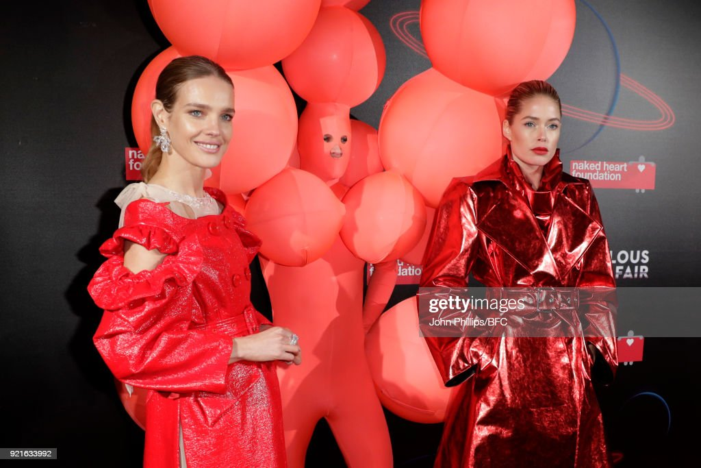 Natalia Vodianova and Doutzen Kroes attend the Naked Heart Foundation's Fabulous Fund Fair during London Fashion Week February 2018 at The Roundhouse on February 20, 2018 in London, England.