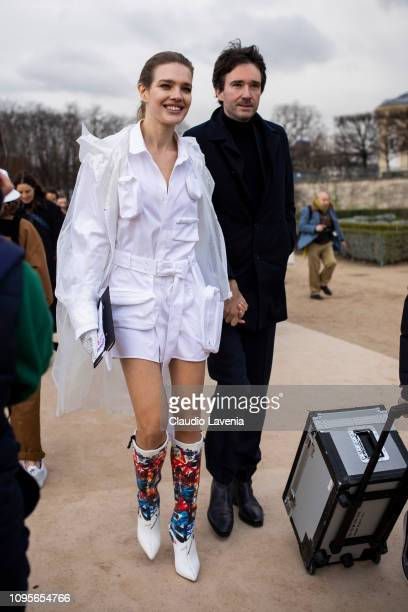 Natalia Vodianova and General manager of Berluti Antoine Arnault, are seen in the streets of Paris after the Louis Vuitton show on January 17, 2019...
