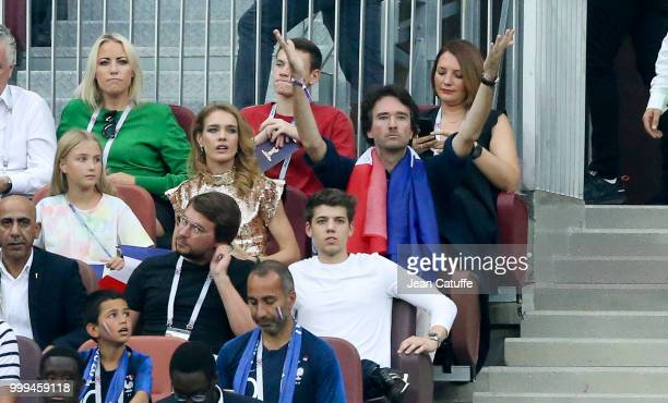 Natalia Vodianova and husband Antoine Arnault during the 2018 FIFA World Cup Russia Final match between France and Croatia at Luzhniki Stadium on...