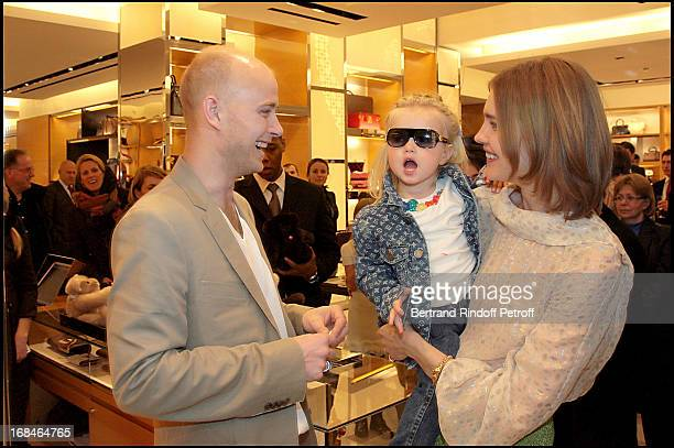 Natalia Vodianova and husband Lord Justin Portman and their daughter Neva at The Reopening Of Louis Vuitton Store In Moscow In Association With...