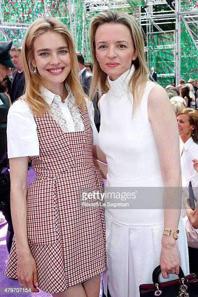 Natalia Vodianova and Louis Vuitton's executive vice president Delphine Arnault attend the Christian Dior show as part of Paris Fashion Week Haute...