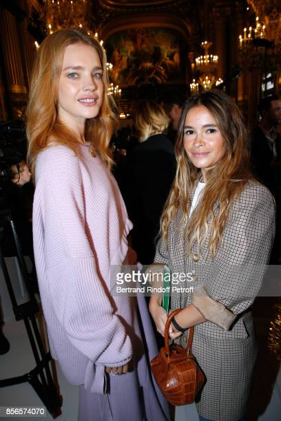 Natalia Vodianova and Miroslava Duma attend the Stella McCartney show as part of the Paris Fashion Week Womenswear Spring/Summer 2018 on October 2...