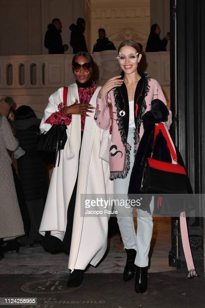 Natalia Vodianova and Naomi Campbell are seen arriving at Valentino fashion show during Paris Fashion Week Haute Couture Spring Summer 2020 on...