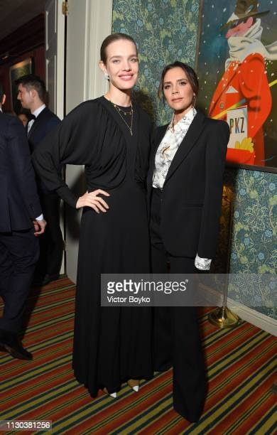 Natalia Vodianova and Victoria Beckham attend the Victoria Beckham x YouTube Fashion Beauty After Party at London Fashion Week hosted by Derek...