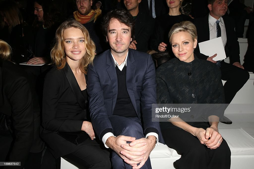 Natalia Vodianova, Antoine Arnault and Princess Charlene of Monaco attend the Christian Dior Spring/Summer 2013 Haute-Couture show as part of Paris Fashion Week at on January 21, 2013 in Paris, France.