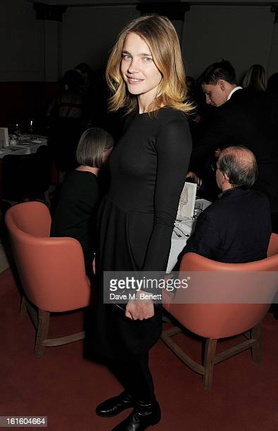 Natalia Vodianova attends a private dinner hosted by Lucy Yeomans celebrating Jason Brooks at Cafe Royal on February 12 2013 in London England