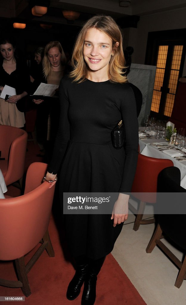 Natalia Vodianova attends a private dinner hosted by Lucy Yeomans celebrating Jason Brooks at Cafe Royal on February 12, 2013 in London, England.