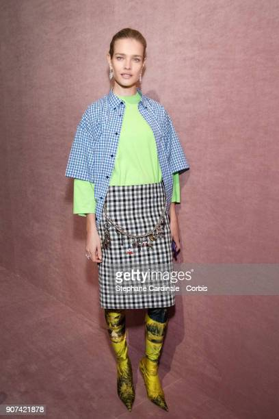 Natalia Vodianova attends the Berluti Menswear Fall/Winter 20182019 show as part of Paris Fashion Wee January 19 2018 in Paris France
