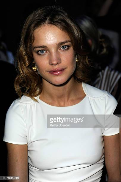 Natalia Vodianova attends the Moncler Gamme Rouge Ready to Wear Spring / Summer 2012 show during Paris Fashion Week at Couvent des Cordeliers on...