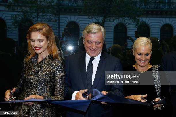 Natalia Vodianova CEO of Dior Sidney Toledano and Stylist of Dior Maria Grazia Chiuri attend the Inauguration of the Dior showcases at Galeries...