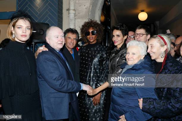 Natalia Vodianova, Christophe Von Weyhe, Jack Lang, Naomi Campbell, Farida Khelfa, a guest and Carla Sozzani attend the Tribute To Azzedine Alaia as...