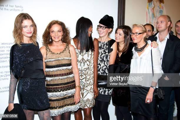 Natalia Vodianova Diane von Furstenberg Naomi Campbell Kseniya Sobchak Aizel Trudel Olga Sviblova and Justin Portman attend the opening of the Diane...