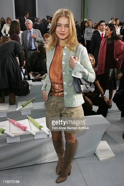 Natalia Vodianova during Paris Fashion Week - Pret a Porter Spring/Summer 2006 - Chanel - Front Row at Grand Palais in Paris, France.