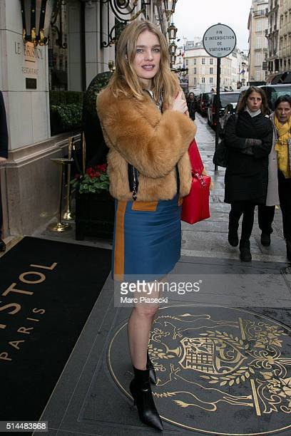 Natalia Vodianova is seen leaving the 'Bristol' hotel on March 9 2016 in Paris France