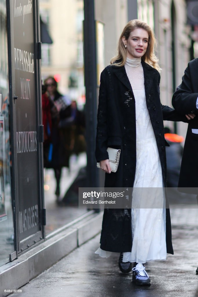 Natalia Vodianova is seen, outside the Valentino show, during Paris Fashion Week Womenswear Fall/Winter 2017/2018, on March 5, 2017 in Paris, France.