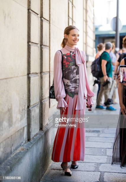 Natalia Vodianova is seen outside Valentino during Paris Fashion Week - Haute Couture Fall/Winter 2019/2020 on July 03, 2019 in Paris, France.