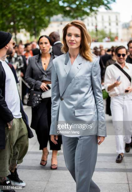 Natalia Vodianova is seen wearing grey sui at Dior during Paris Fashion Week - Menswear Spring/Summer 2020 on June 21, 2019 in Paris, France.