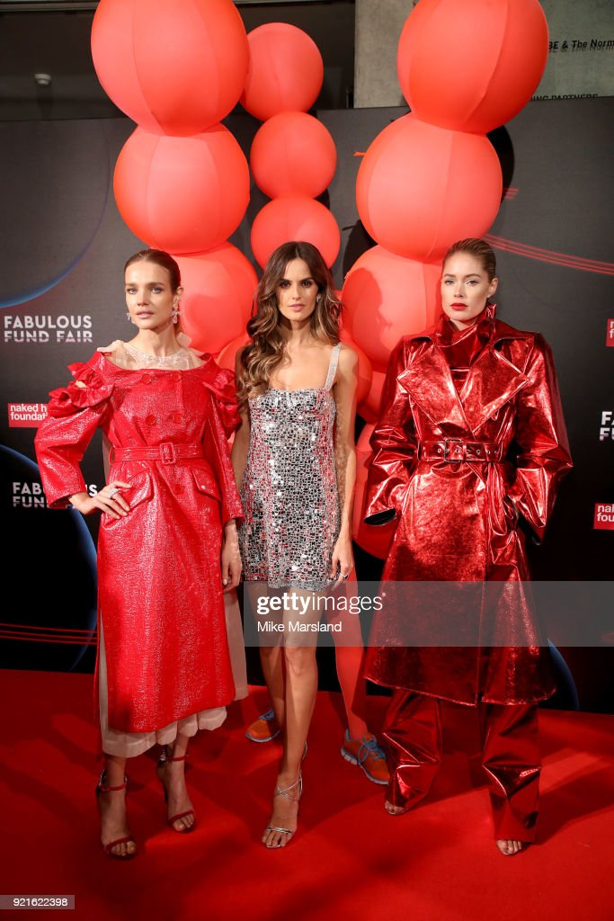 Natalia Vodianova, Izabel Goulart and Doutzen Kroes attend the Naked Heart Foundation's Fabulous Fund Fair during London Fashion Week February 2018 at The Roundhouse on February 20, 2018 in London, England.