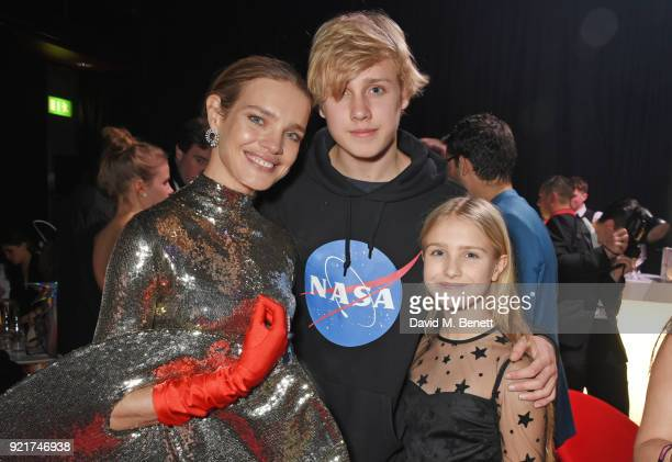 Natalia Vodianova poses with her children Lucas Portman and Neva Portman at the Naked Heart Foundation's Fabulous Fund Fair at The Roundhouse on...