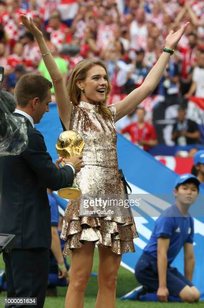 Natalia Vodianova presents the trophy before the 2018 FIFA World Cup Russia Final match between France and Croatia at Luzhniki Stadium on July 15...