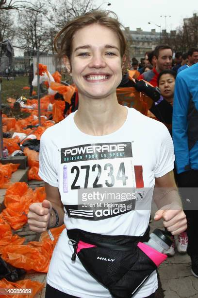 Natalia Vodianova runs in the Paris SemiMarathon 2012 for Naked Heart Foundationon March 4 2012 in Paris France