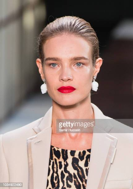 Natalia Vodianova walks the runway at the Burberry show during London Fashion Week September 2018 on September 17 2018 in London England
