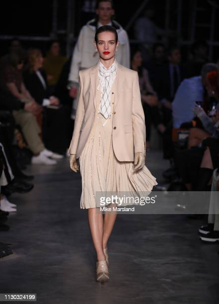 Natalia Vodianova walks the runway at the Burberry show during London Fashion Week February 2019 on February 17, 2019 in London, England.