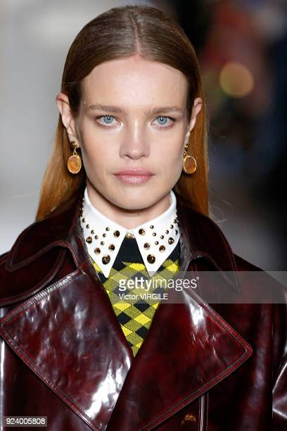 Natalia Vodianova walks the runway at the Versace Ready to Wear Fall/Winter 20182019 fashion show during Milan Fashion Week Fall/Winter 2018/19 on...