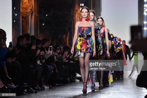 Natalia Vodianova walks the runway at the Versace show during Milan Fashion Week Fall/Winter 2018/19 on February 23 2018 in Milan Italy