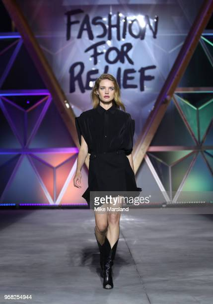 Natalia Vodianova walks the runway during Fashion For Relief Cannes 2018 during the 71st annual Cannes Film Festival at Aeroport Cannes Mandelieu on...