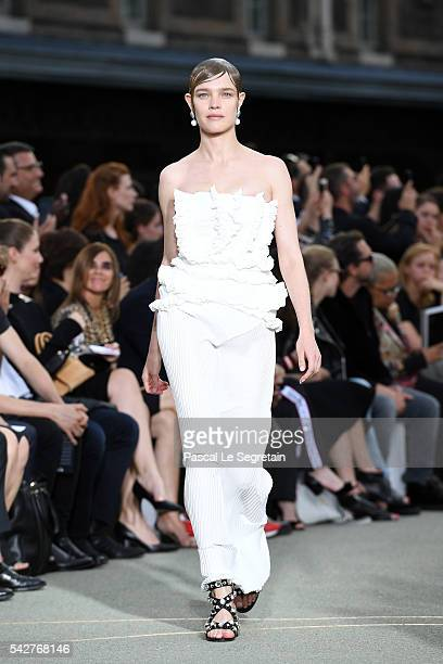 Natalia Vodianova walks the runway during the Givenchy Menswear Spring/Summer 2017 show as part of Paris Fashion Week on June 24 2016 in Paris France