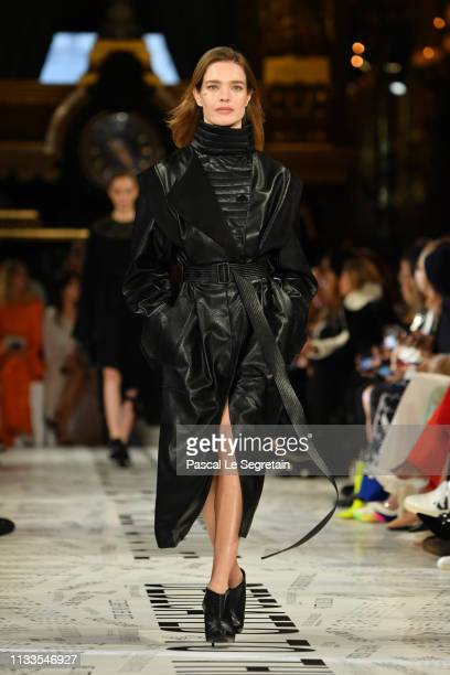 Natalia Vodianova walks the runway during the Stella McCartney show as part of the Paris Fashion Week Womenswear Fall/Winter 2019/2020 on March 04,...