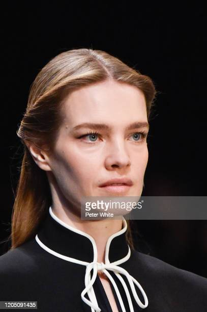 Natalia Vodianova walks the runway during the Tory Burch Fall Winter 2020 Fashion Show at Sotheby's on February 09, 2020 in New York City.