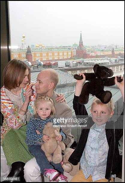 Natalia Vodianova with husband Lord Justin Portman and their two children Lucas and Neva at The Reopening Of Louis Vuitton Store In Moscow In...
