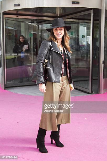 Natalia wears Sergio Rossi boats Hackey pants Zara jersey Alvarno Jacket and Mage hat during Mercedes Benz Fashion Week at Ifema on February 19 2016...