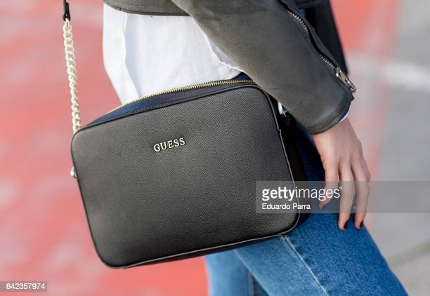 Natalia wears Zara jacket Berska trousers Mando shirt Guess handbag and Zara shoes during the Mercedes Benz Fashion Week Autumn / Winter 2017 at Ifema