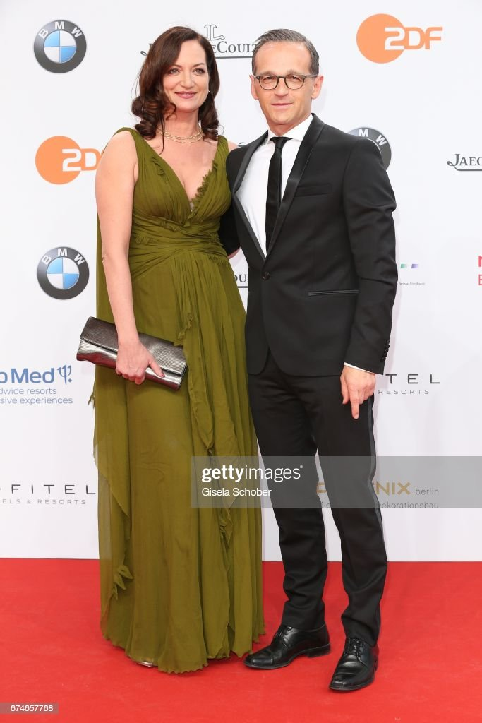 Natalia Woerner and her boyfriend, german federal minister of justice, Heiko Maas during the Lola - German Film Award red carpet arrivals at Messe Berlin on April 28, 2017 in Berlin, Germany.