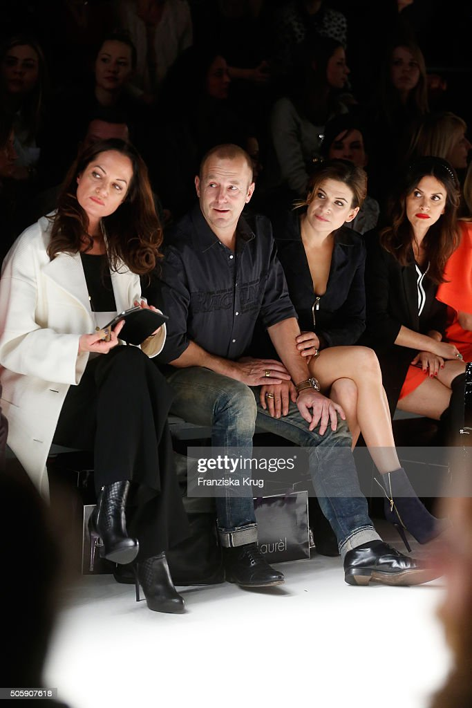 Natalia Woerner, Heino Ferch, Marie Jeanette Ferch and Viktoria Lauterbach attend the Laurel show during the Mercedes-Benz Fashion Week Berlin Autumn/Winter 2016 at Brandenburg Gate on January 20, 2016 in Berlin, Germany.