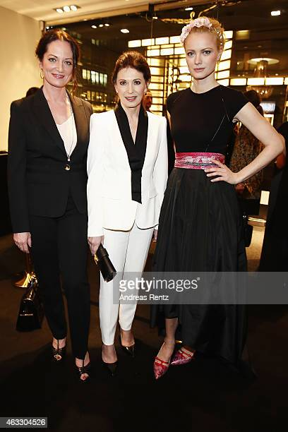 Natalia Woerner Iris Berben and Franziska Knuppe attend the ESCADA Meets Thilo Westerman Fashion Art Cocktail on February 12 2015 in Berlin Germany