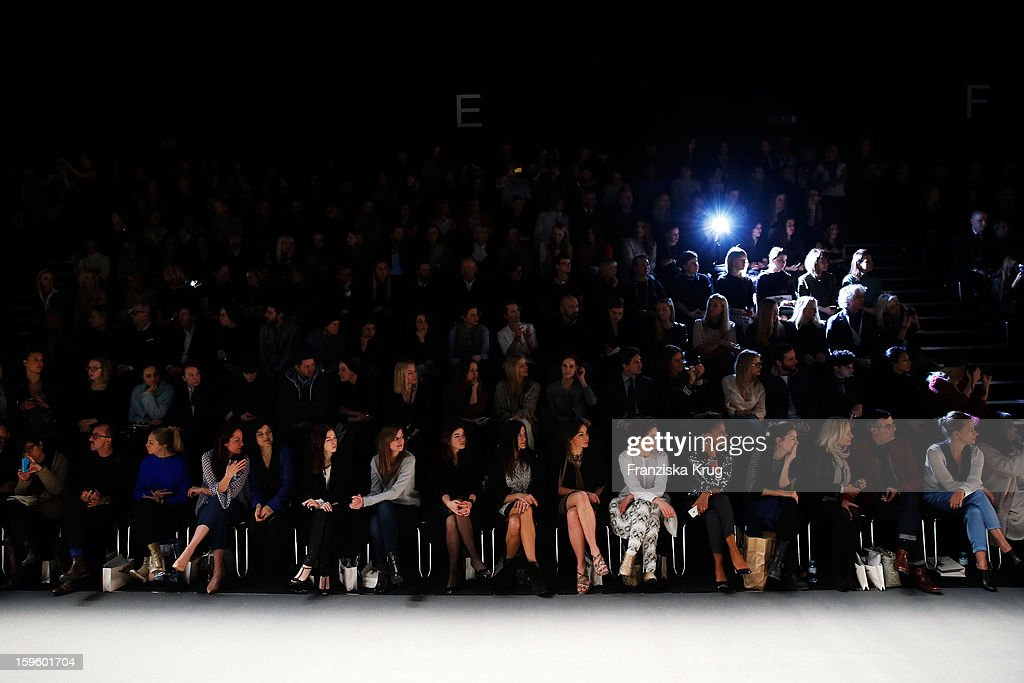 Natalia Woerner, Jasmin Tabatabai, Nora von Waldstaetten, Alexandra Maria Lara, Angela Lanz, Bettina Zimmermann,Nadine Warmuth,Bibiana Beglau,Dennenesch Zoude,Sabine Christiansen, Norbert Medus and Claudia Michelsen attend Schumacher Autumn/Winter 2013/14 Fashion Show during Mercedes-Benz Fashion Week Berlin at Brandenburg Gate on January 17, 2013 in Berlin, Germany. on January 17, 2013 in Berlin, Germany.