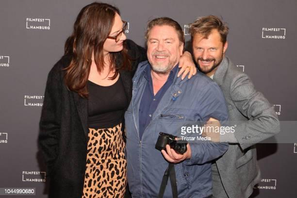 Natalia Woerner, Philipp Hochmair and Armin Rohde attend the 'Nachtschicht - Es lebe der Tod' premiere during the Hamburg Film Festival on October...