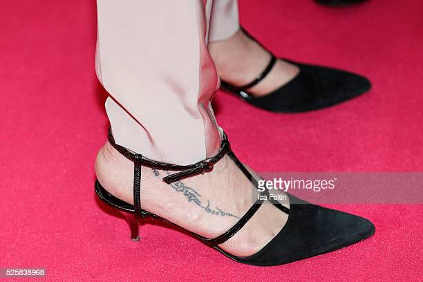Natalia Woerner shoe and tattoo detail during the Telekom Entertain TV Night at Hotel Zoo on April 28 2016 in Berlin Germany